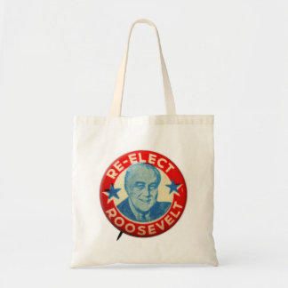 Vintage Kitsch Re-Elect Roosevelt Button Art FDR Tote Bag