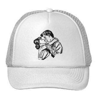 Vintage Kitsch Romance Young Lovers Embrace Trucker Hat