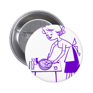 Vintage Kitsch Sixties TV Cooking Mom Cartoon 2 Inch Round Button