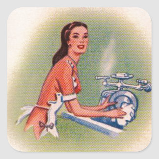 Vintage Kitsch Suburbs Housewife Doing Dishes Square Sticker