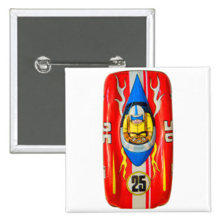 Vintage Kitsch Tin Toy Race Car Made in Japan 2 Inch Square Button