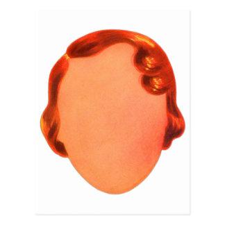 Vintage Kitsch Toy Blank Womens Face Ephemera Postcard