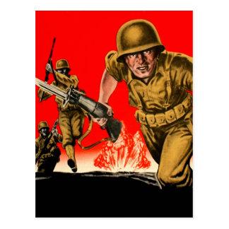 Vintage Kitsch WW2 Army Combat Soldiers Battle Art Postcard
