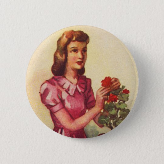 Vintage Kitsch Zombie Roses Woman 2 Inch Round Button