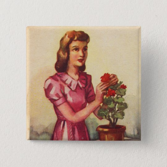 Vintage Kitsch Zombie Roses Woman 2 Inch Square Button