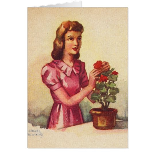 Vintage Kitsch Zombie Roses Woman Card