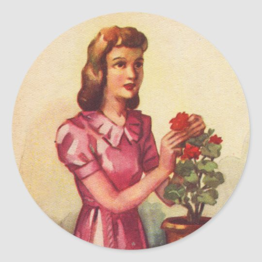 Vintage Kitsch Zombie Roses Woman Classic Round Sticker