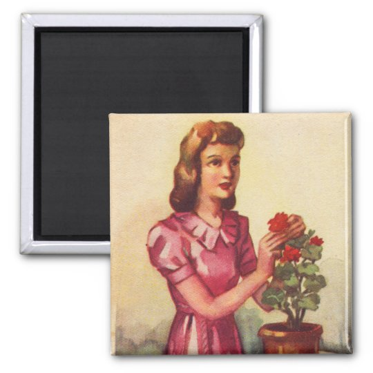 Vintage Kitsch Zombie Roses Woman Magnet