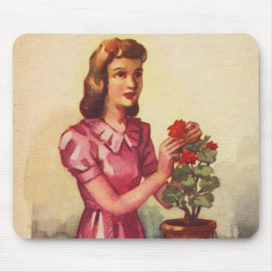 Vintage Kitsch Zombie Roses Woman Mouse Pad