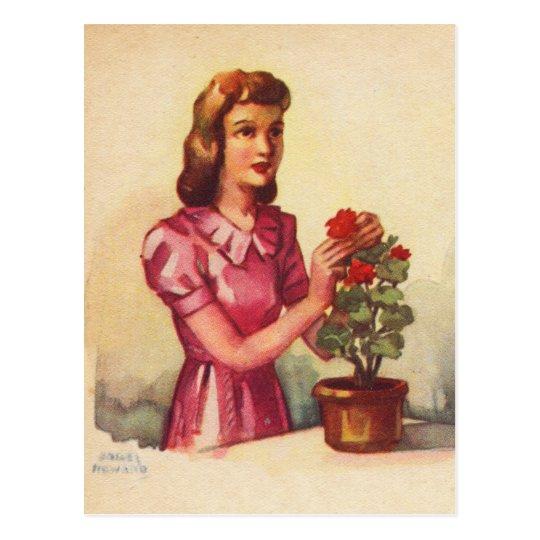 Vintage Kitsch Zombie Roses Woman Postcard