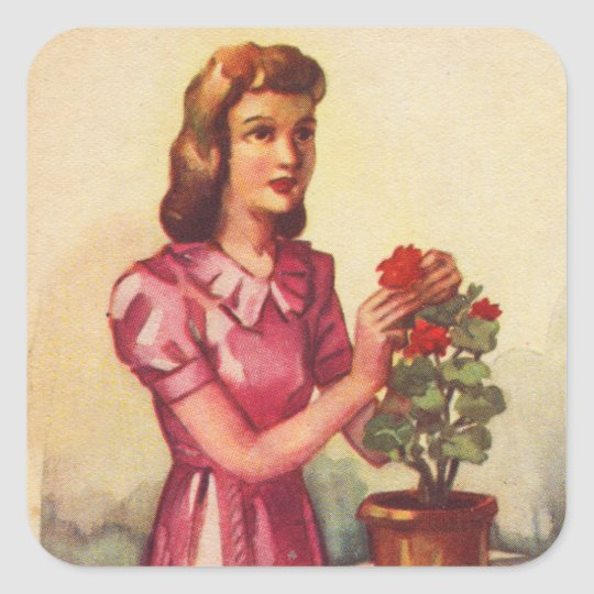 Vintage Kitsch Zombie Roses Woman Square Sticker