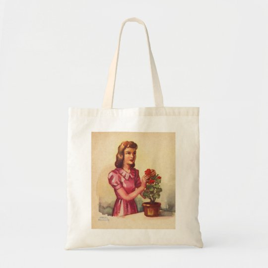 Vintage Kitsch Zombie Roses Woman Tote Bag