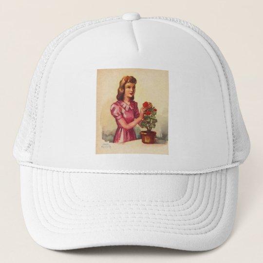 Vintage Kitsch Zombie Roses Woman Trucker Hat
