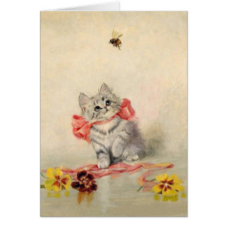 Vintage Kitten and Bee Note Card