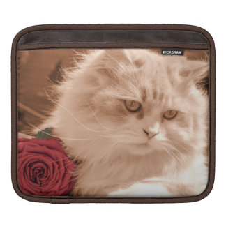 Vintage Kitten Cat with Rose, iPad Mini Sleeve