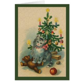 Vintage Kitten Christmas Greeting Card