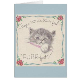 Vintage Kitten Get Well Card