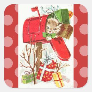 Vintage Kitten in Mailbox Christmas Sticker