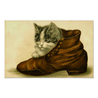 Vintage Kitten in Shoe Poster