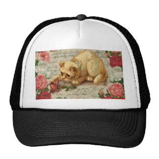 Vintage kitten trucker hat