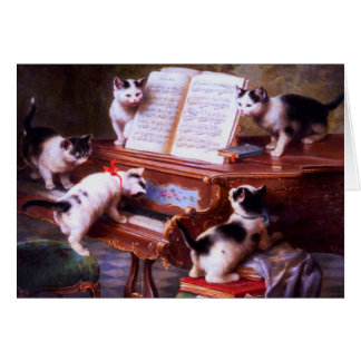 Vintage - Kittens at Play on a Piano, Card