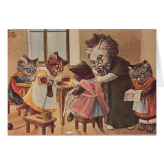 Vintage - Kittens Get a Needlework Lesson, Card
