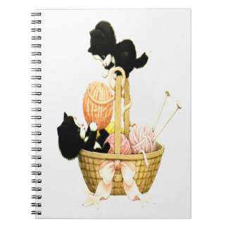 Vintage Kittens in Basket Notebook