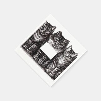 Vintage Kittens Paper Napkin