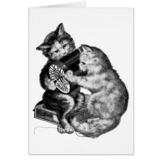 Vintage - Kittens Playing With Thread Spool, Card