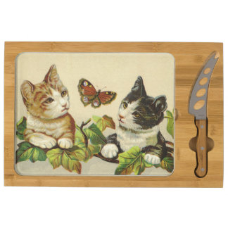 Vintage Kittens Round Cheese Board