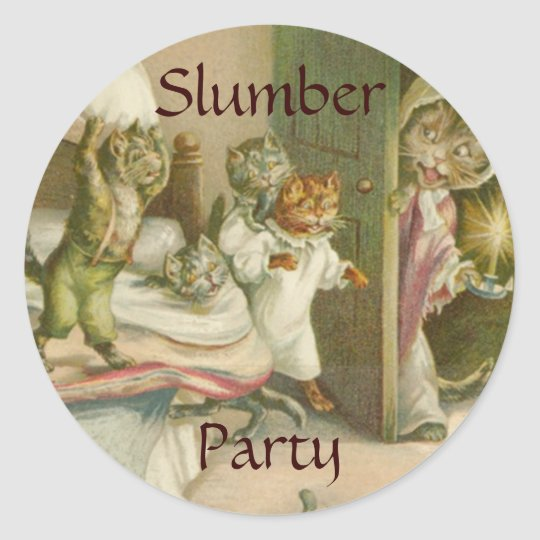Vintage Kittens Slumber Party Sticker