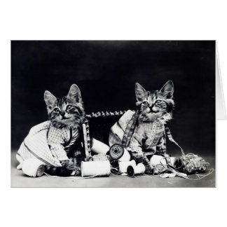 Vintage Kittens with Sewing Supplies, Card