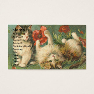 Vintage Kitties and Poppies Business Card