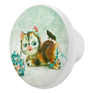 Vintage Kitty Cat Ceramic Knob