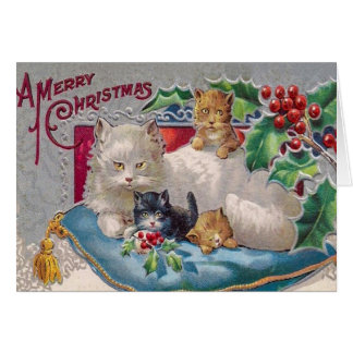 Vintage Kitty Cat Christmas Card, Customize it Card