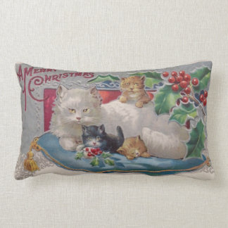 Vintage Kitty Cat Christmas with A Merry Christmas Lumbar Pillow