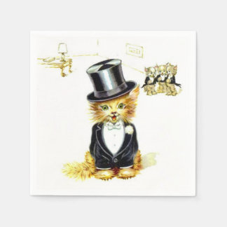Vintage Kitty cat in a Top Hat Paper Napkins