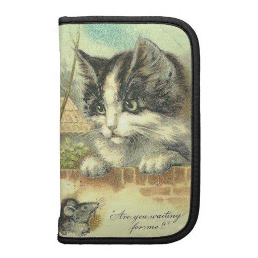 Vintage Kitty Cat Mouse illustration - Mini Folio Organizer