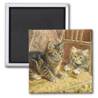 Vintage Kitty Cats - Victorian Art Square Magnet
