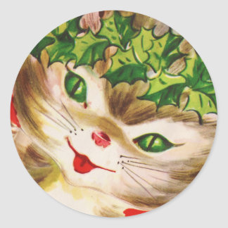 vintage kitty classic round sticker