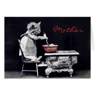 Vintage Kitty Cooking Mother's Day Card