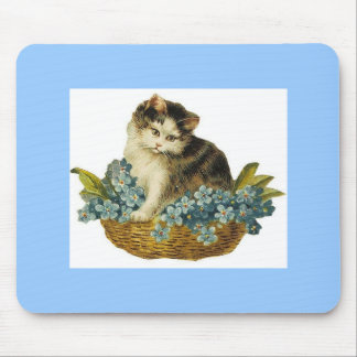 Vintage Kitty in Basket Mouse Pad