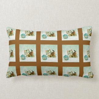 Vintage Kitty in Brown Plaid Lumbar Pillow