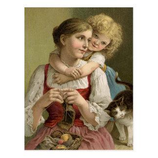 Vintage Knitting Mother Postcard