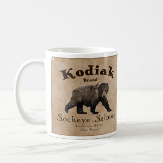 Vintage Kodiak Salmon Label Coffee Mug