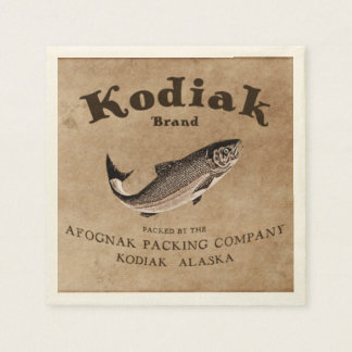 Vintage Kodiak Salmon Label Disposable Napkins