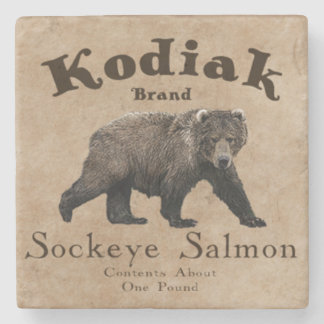 Vintage Kodiak Salmon Label Stone Coaster