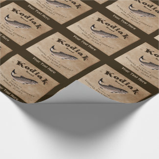 Vintage Kodiak Salmon Label Wrapping Paper