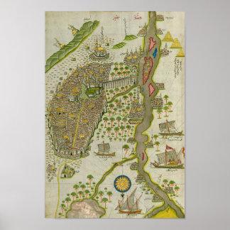 Vintage Koranic Map Of The Nile Poster
