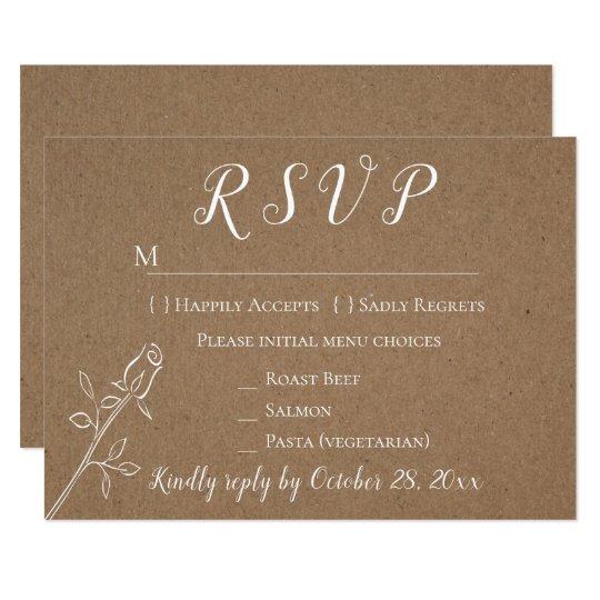 Vintage Kraft RSVP Rose Flower Country Wedding Card